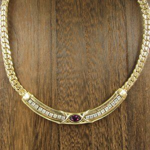 """Jewelry - 16"""" Gold Tone Crystal Necklace Vintage Costume"""